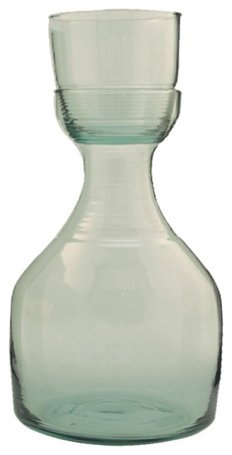 Recycled Glass And Carafe Set, Small contemporary-serveware