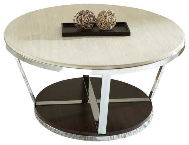 Steve Silver Bosco 36 Inch Round Faux Marble Cocktail Table w/ Casters contemporary-coffee-tables