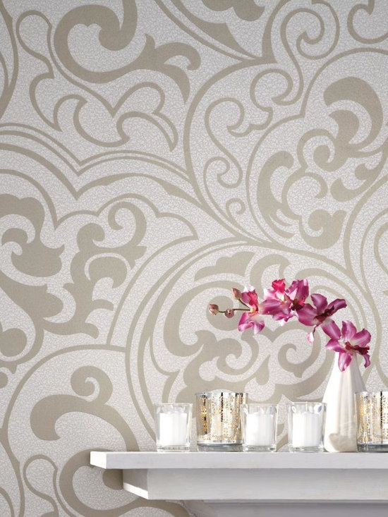 Divine Wallpaper - WallpapHer - The field on this wallcovering is a myriad of tiny squiggling lines. Artfully superimposed on that crackled mesh is a swooping, swirling, bold but graceful scroll design composed of softly glittering raised ink, lighthearted yet lovely. Select from six hues including matte black, pearl, and white. Incorporate Vibe or Primal into the project.