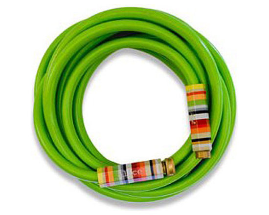Lime Green Garden Hose with Striped Handles -