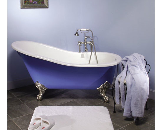 "Amazing Tubs - 61"" Callaway Cast Iron Slipper Clawfoot Tub on Solid Brass Imperial Feet"