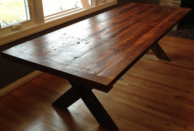 Reclaimed Wood Cross Table traditional-dining-tables