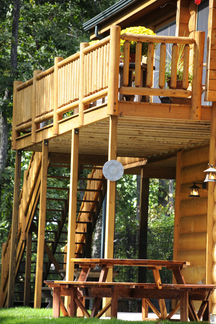 Deck With Log Railing Rustic Deck Other Metro By