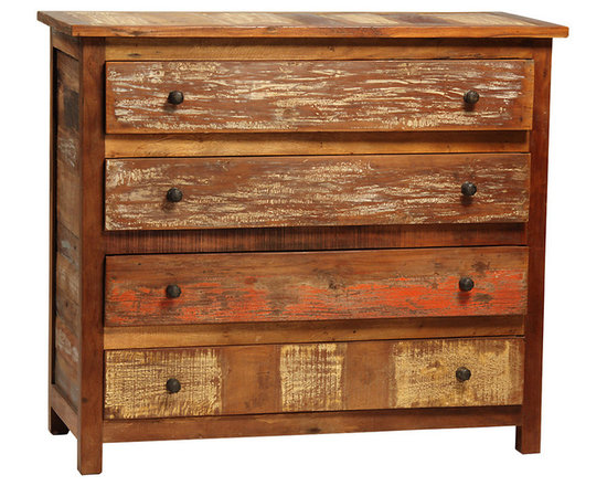 Nantucket 4 Drawer Dresser - A rustic accent in the bedroom, the Nantucket 4-Drawer Dresser delivers ample wardrobe storage in eye-catching style. Hand-built from reclaimed hardwoods, this casual dresser has a sealed medium brown finish, accented with distressed paint tones that creates an old world, antiquated look. The strong, straight lines of the dresser make for a clean style that is enhanced with simple antiqued metal knobs on the drawers. Bring spacious storage and charming character to the bedroom with this enchanting dresser.