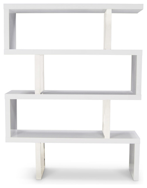 Lester High Gloss White and Silver Bookcase - Contemporary - Bookcases ...