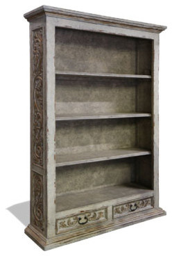 Hand Carved Bookcase, Weathered Creams with Gray and Gold Leaf traditional-storage-units-and-cabinets