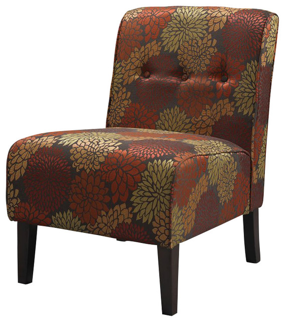 Linon Coco Harvest Accent Chair in Dark Walnut transitional-chairs