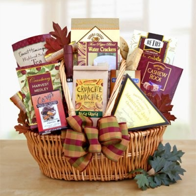 A gift basket filled with all-time favorite holiday snacks