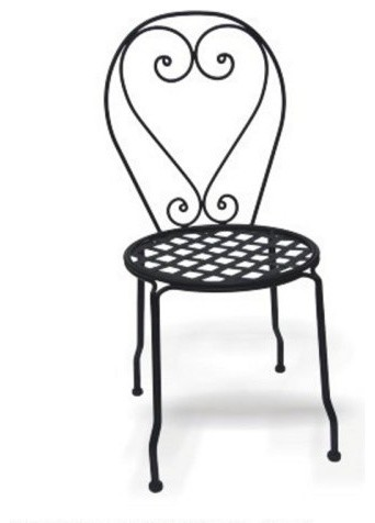 Wrought Iron Chair with Mesh Seat - Set of 4 - Traditional - Outdoor ...