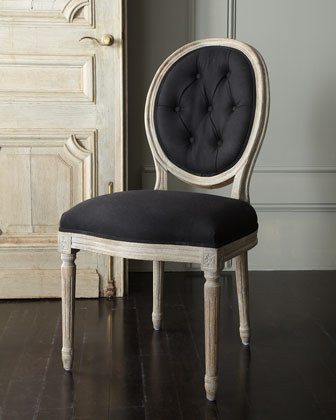 Black Linen Chair transitional-dining-chairs