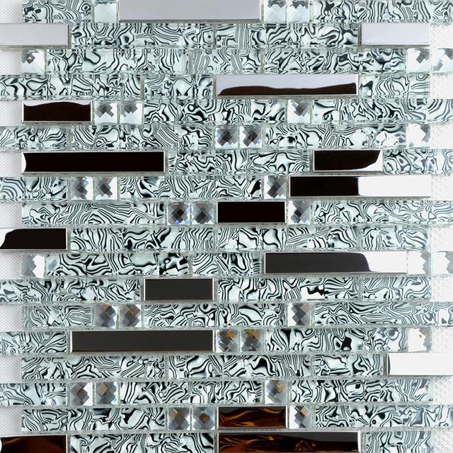 Shell Textured Glass & Stainless Steel Mixed Mosaic Tiles - Modern ...