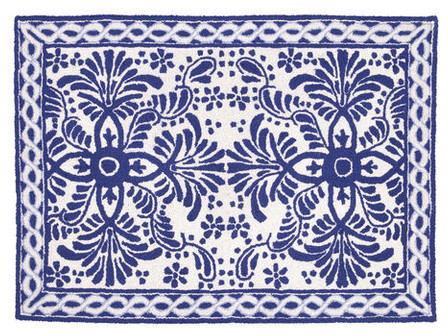 Blue U0026 White Tile Hook Rug Eclectic Rugs By Black Rooster Decor