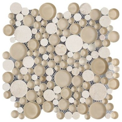 Bubbles Crema Marfil Polished & Froasted Circles Pattern Mesh-Mounted Marble & G modern-wall-and-floor-tile
