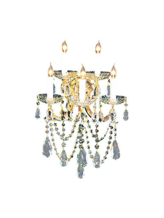 Crystorama Lighting Group - Crystorama Lighting Group 4425-CL-MWP Five Light Maria Theresa Wall Sconce Drape - Five Light Maria Theresa Wall Sconce Draped in Majestic Wood Polished CrystalRequires 5 60w Candelabra Bulbs (Not Included)