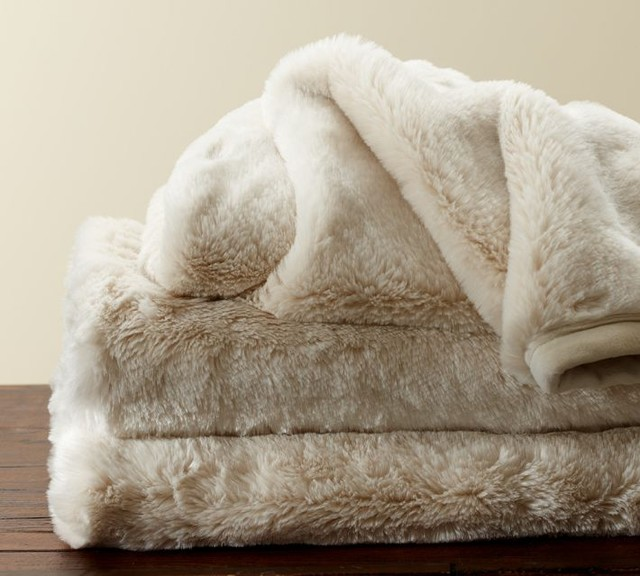 Faux Fur Throw Ivory