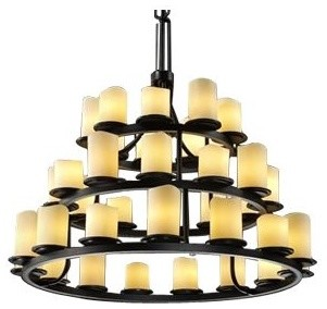 CandleAria Dakota 3-Tier Ring Chandelier by Justice Design Group contemporary-chandeliers