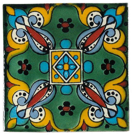 Green Leaf Talavera Tiles, Box of 15 contemporary-tile