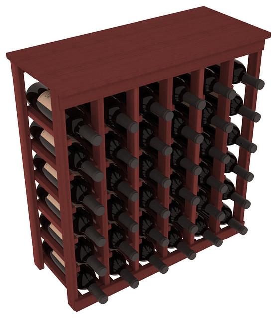 36 Bottle Kitchen Wine Rack in Premium Redwood, Cherry Stain contemporary-wine-racks