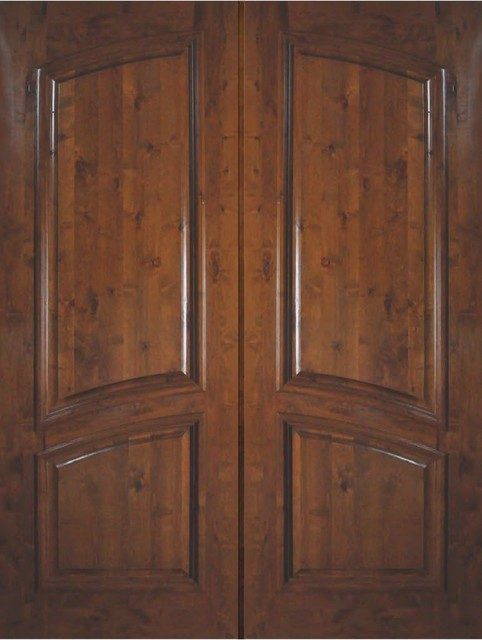 Slab Entry Double Door 96 Wood Knotty Alder 2 Panel Solid