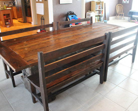 Dining Bench - Bench made from reclaimed barn wood inspired by an early 1900's chair from the Carter Ranch in Texas