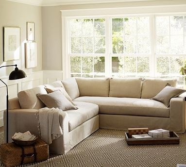 Solano Slipcovered Right Arm 2 Piece Sectional With Chaise