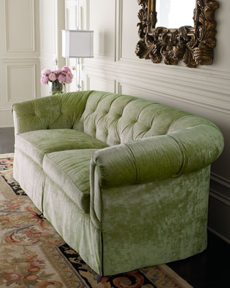 Old Hickory Tannery Mint Green Tufted Sofa traditional-sofas