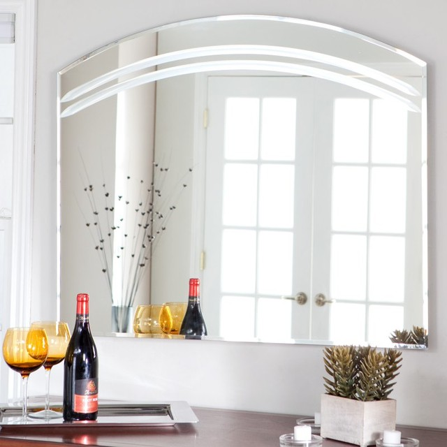 Angel Large Frameless Arched Wall Mirror 39 5w X 31 5h In Ssm1065 Contemporary Bathroom