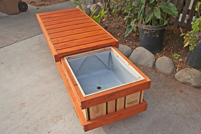 Rolling Bench Planter Container Modern Outdoor Pots And Planters Lo