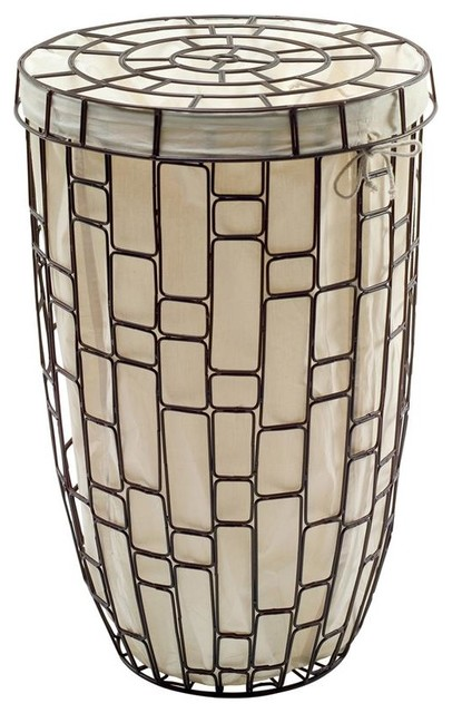 Sesti metal laundry basket with lid and cotto contemporary hampers by shopladder - Modern hamper with lid ...
