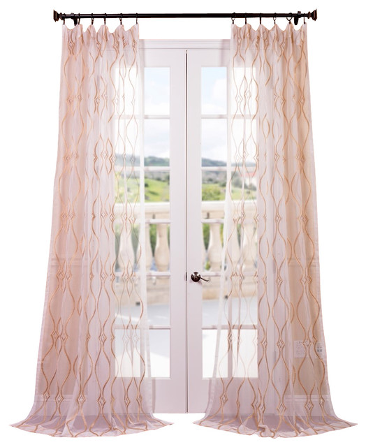 Contessa Gold Embroidered Sheer Curtain contemporary-curtains