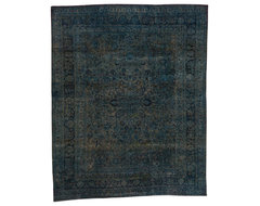 Vintage Blue Overdyed Rug traditional-rugs