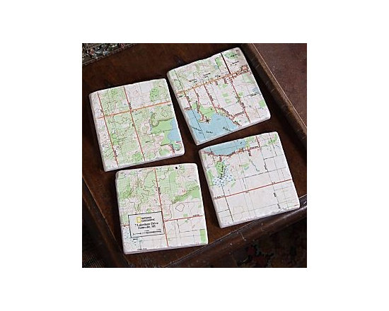 My Town Map Coasters, Set of 4 -