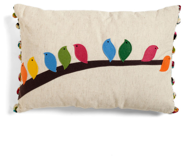 Flock of the Draw Bird Pillow contemporary pillows