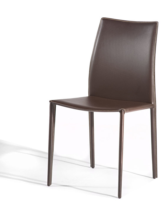 Gingko Home Furnishings - Lily Dining Chair, Black - Slim dining chair packs lots of style.  Sturdy steel frame wrapped in bicast leather for a sleek yet comfortable dining chair.