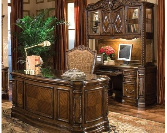 AICO Furniture - Windsor Court Office Suite in Vintage Fruitwood - 70207-54-SET - Vintage Fruitwood finish