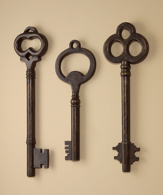 whimsical key wall art sculptures set of 3 farmhouse