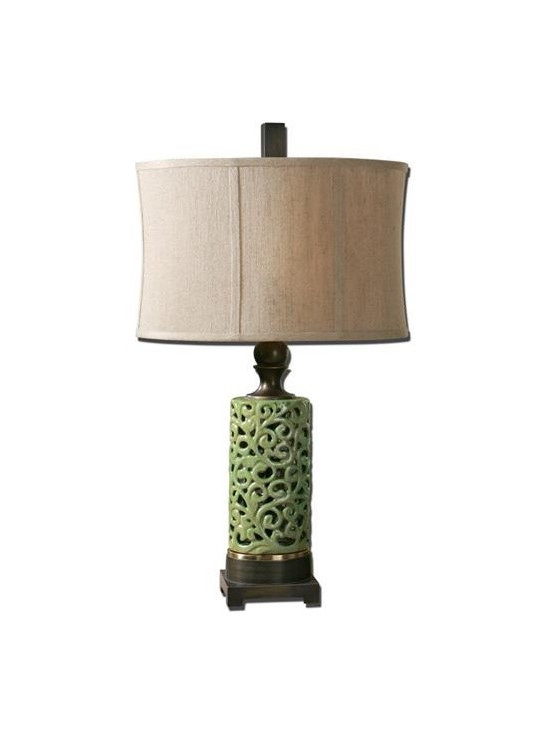 Uttermost Fiora - Ceramic scroll work finished in a crackled chartreuse glaze with dark bronze details. The oval modified drum shade is a khaki linen fabric with natural slubbing.