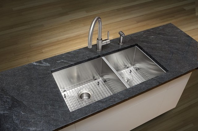 Undermount Double Sink : ... Quatrus Kitchen Sink Undermount Double - Contemporary - Kitchen Sinks
