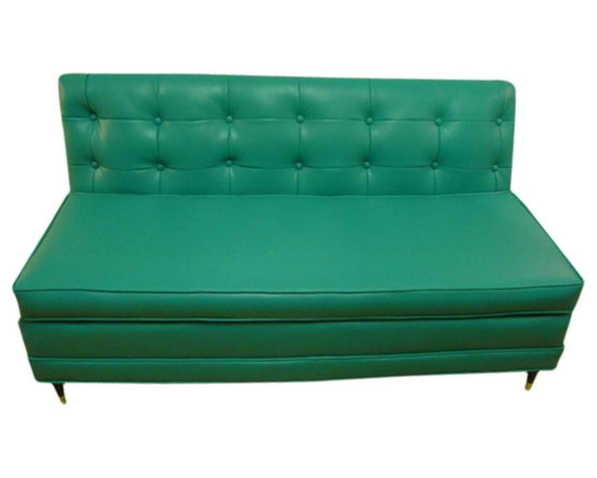 Turquoise Couch - Here's a fabulous find from an estate in Albany, New York. This turquoise naugahyde couch was custom made and purchased in 1969 and never left the house once it was delivered.