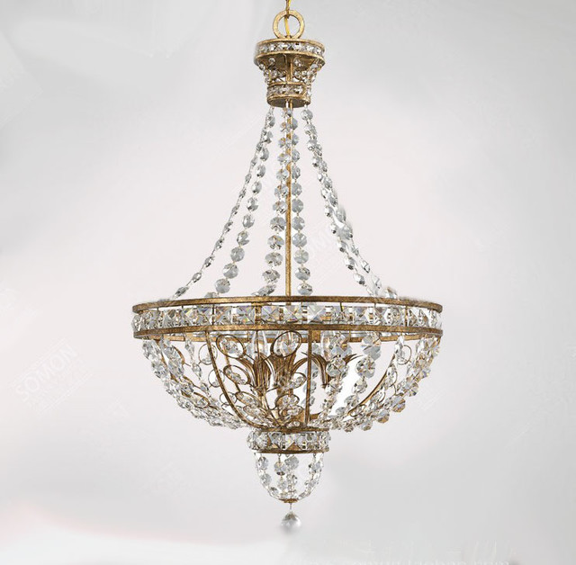 Antique North Copper And Crystal Chandelier