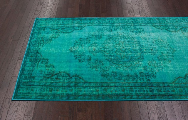 Winsdor Overdyed Grove Turquoise Rug traditional-rugs
