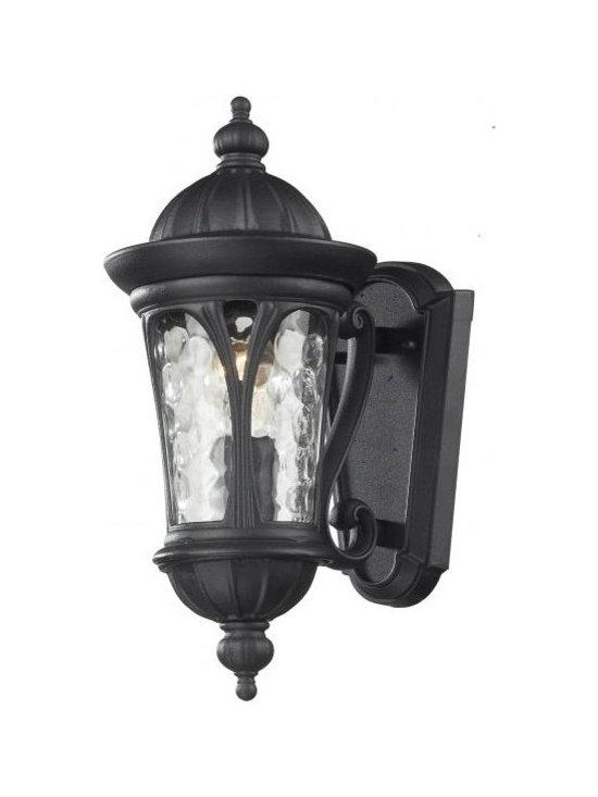 Joshua Marshal - One Light Black Water Glass Wall Lantern - Finish: Black
