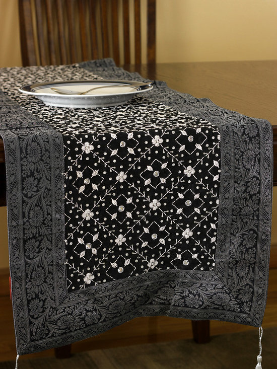 """Elegant Table Runners - Indian hand crafted and sophisticated design. Mystic Black color. """"Mystic Dabka"""" Exclusive from the Banarsi Collection."""