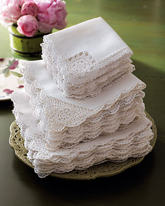 Crochet-Edge Tea Napkins, Set of 12 traditional table linens
