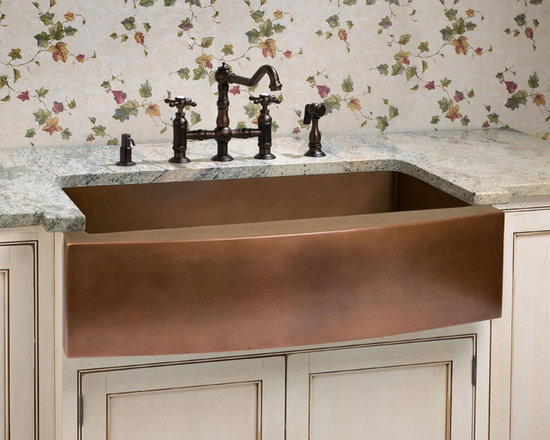 Fresh Farmhouse Sinks - Kiana Single Well Curved Apron Copper Farmhouse Sink, Signature Hardware