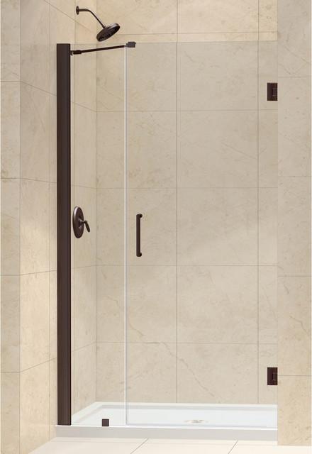 """Unidoor Frameless Hinged Shower Door, 40 - 41""""W x 72""""H, Oil Rubbed Bronze modern-showers"""