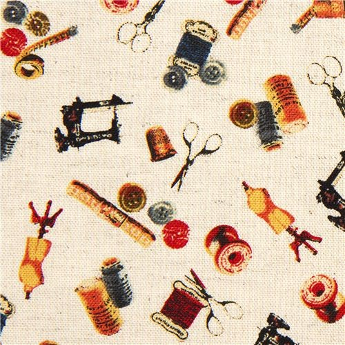 Kokka Canvas fabric with sewing machine from Japan ...