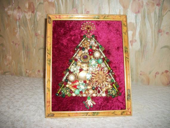 Vintage Jewelry Framed Christmas Tree by Moondiamonds contemporary