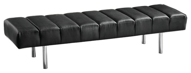Classic Leather Bench 3 Seat Black contemporary-bedroom-benches