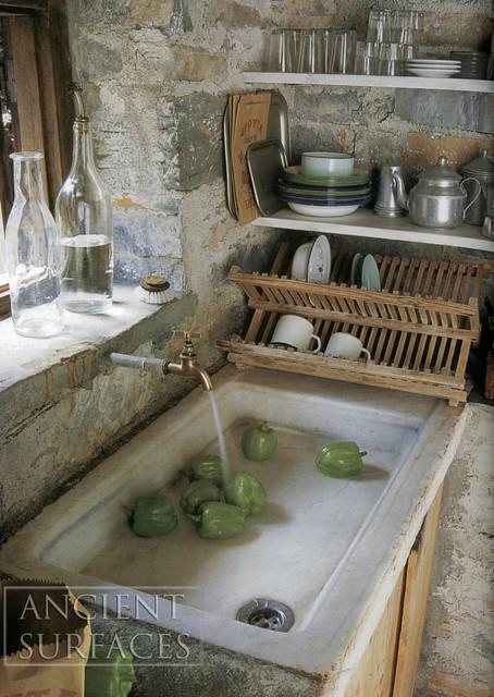 Antique Farmhouse Limestone Sink with Stone Countertops 2 Mediterranean K
